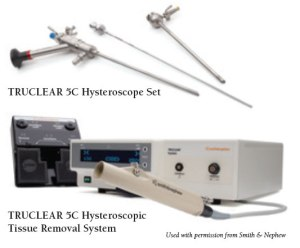 Photo of TRUCLEAR 5C Hysteroscope Tissue Removal System and the TRUCLEAR 5C Hysteroscope Tool Set